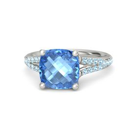 Checkerboard Cushion Double-sided Blue Topaz Platinum Ring with Aquamarine