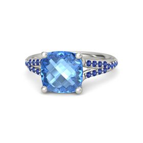 Checkerboard Cushion Double-sided Blue Topaz Platinum Ring with Blue Sapphire