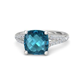 Checkerboard Cushion Double-sided London Blue Topaz Sterling Silver Ring with Diamond
