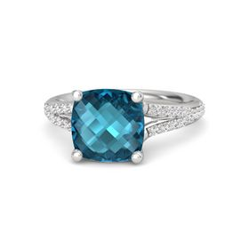 Checkerboard Cushion Double-sided London Blue Topaz Sterling Silver Ring with White Sapphire