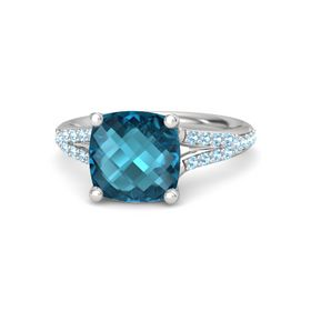 Checkerboard Cushion Double-sided London Blue Topaz Sterling Silver Ring with Aquamarine