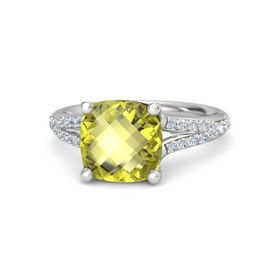 Checkerboard Cushion Double-sided Lemon Quartz Sterling Silver Ring with Diamond