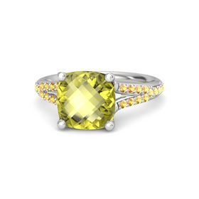 Checkerboard Cushion Double-sided Lemon Quartz Sterling Silver Ring with Citrine