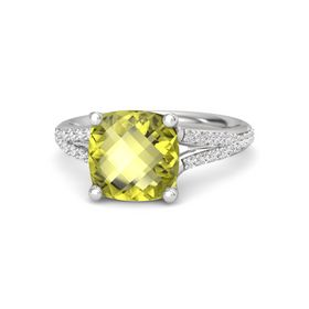 Checkerboard Cushion Double-sided Lemon Quartz Sterling Silver Ring with White Sapphire