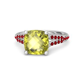 Checkerboard Cushion Double-sided Lemon Quartz Sterling Silver Ring with Ruby