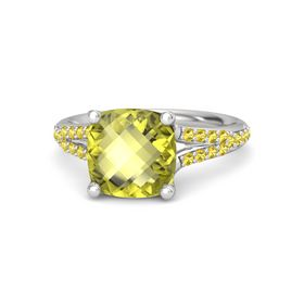 Checkerboard Cushion Double-sided Lemon Quartz Sterling Silver Ring with Yellow Sapphire