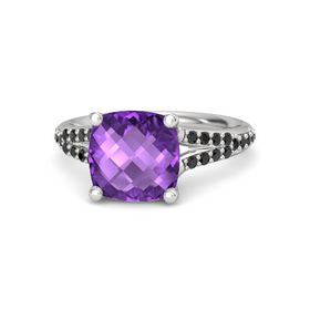 Checkerboard Cushion Double-sided Amethyst Sterling Silver Ring with Black Diamond