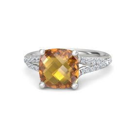 Checkerboard Cushion Double-sided Citrine Sterling Silver Ring with Diamond