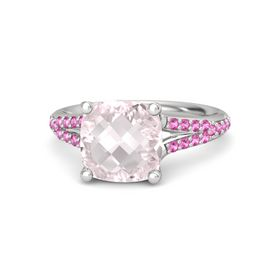 Checkerboard Cushion Double-sided Rose Quartz Sterling Silver Ring with Pink Sapphire