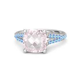 Checkerboard Cushion Double-sided Rose Quartz Sterling Silver Ring with Blue Topaz