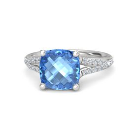 Checkerboard Cushion Double-sided Blue Topaz Sterling Silver Ring with Diamond