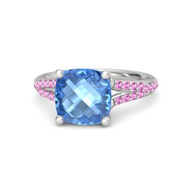 Checkerboard Cushion Double-sided Blue Topaz Sterling Silver Ring with Pink Tourmaline
