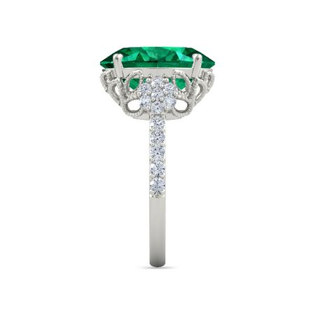Moments Oval Bloom Ring - Oval Lab Emerald 14K White Gold Ring with Lab  Diamond