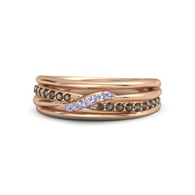 14K Rose Gold Ring with Smoky Quartz and Tanzanite