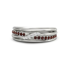 14K White Gold Ring with Red Garnet & White Sapphire
