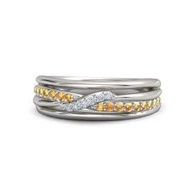 18K White Gold Ring with Citrine & Diamond
