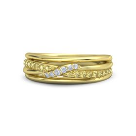 18K Yellow Gold Ring with Yellow Sapphire & Diamond
