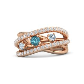 Round London Blue Topaz 14K Rose Gold Ring with Aquamarine and White Sapphire