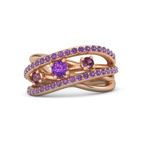 Round Amethyst 14K Rose Gold Ring with Rhodolite Garnet and Amethyst