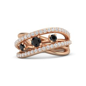 Round Black Diamond 14K Rose Gold Ring with Black Diamond and White Sapphire
