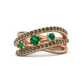 Round Emerald 14K Rose Gold Ring with Emerald and Green Tourmaline