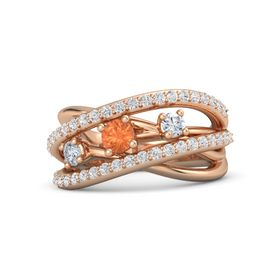 Round Fire Opal 14K Rose Gold Ring with Diamond and White Sapphire