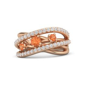 Round Fire Opal 14K Rose Gold Ring with Fire Opal and White Sapphire