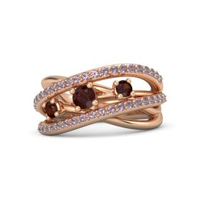 Round Red Garnet 14K Rose Gold Ring with Red Garnet and Rhodolite Garnet