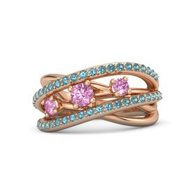 Round Pink Sapphire 14K Rose Gold Ring with Pink Sapphire and London Blue Topaz