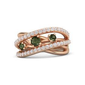 Round Green Tourmaline 14K Rose Gold Ring with Green Tourmaline and White Sapphire