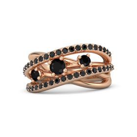 Round Black Onyx 14K Rose Gold Ring with Black Onyx and Black Diamond