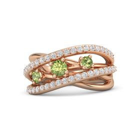 Round Peridot 14K Rose Gold Ring with Peridot and White Sapphire