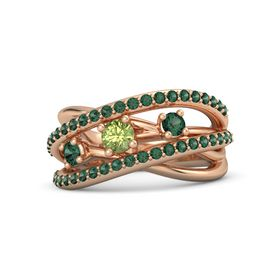Round Peridot 14K Rose Gold Ring with Alexandrite