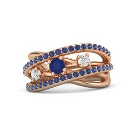 Round Blue Sapphire 14K Rose Gold Ring with White Sapphire and Blue Sapphire