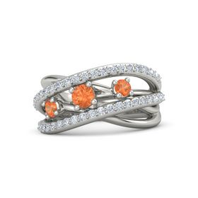 Round Fire Opal 14K White Gold Ring with Fire Opal and Diamond