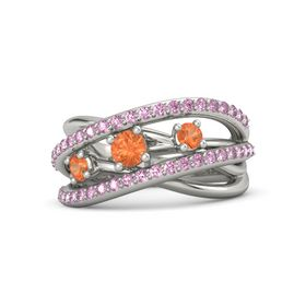 Round Fire Opal 14K White Gold Ring with Fire Opal and Pink Sapphire