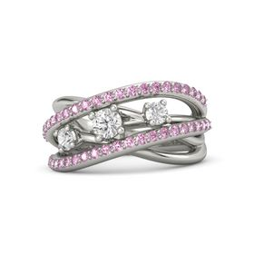 Round White Sapphire 14K White Gold Ring with White Sapphire and Pink Sapphire