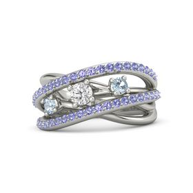 Round White Sapphire 14K White Gold Ring with Aquamarine and Iolite