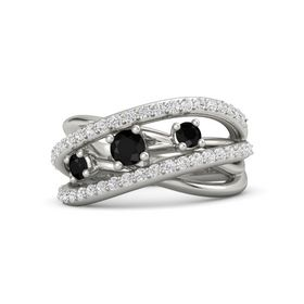 Round Black Onyx 14K White Gold Ring with Black Onyx and White Sapphire
