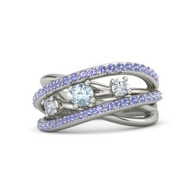 Round Aquamarine 14K White Gold Ring with Diamond and Iolite