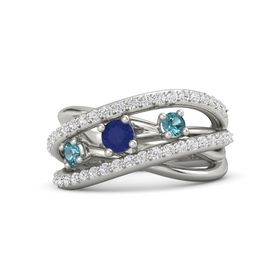 Round Blue Sapphire 14K White Gold Ring with London Blue Topaz and White Sapphire