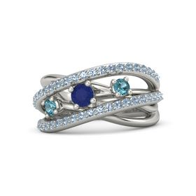 Round Blue Sapphire 14K White Gold Ring with London Blue Topaz and Blue Topaz