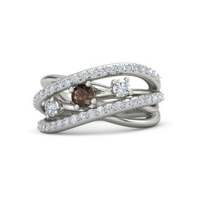 Round Smoky Quartz 14K White Gold Ring with Diamond