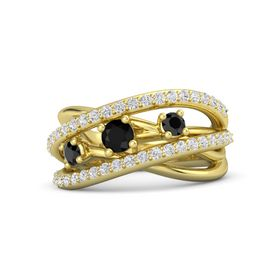 Round Black Onyx 14K Yellow Gold Ring with Black Diamond and White Sapphire