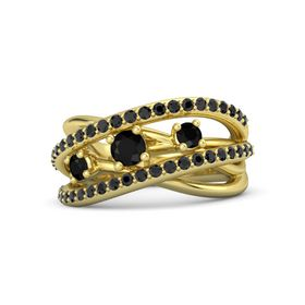 Round Black Onyx 14K Yellow Gold Ring with Black Onyx and Black Diamond