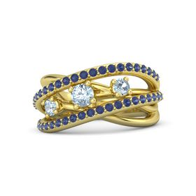 Round Aquamarine 14K Yellow Gold Ring with Aquamarine and Blue Sapphire