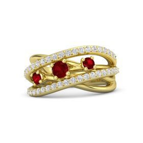 Round Ruby 14K Yellow Gold Ring with Ruby and White Sapphire