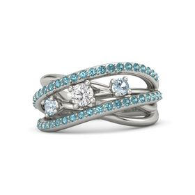 Round White Sapphire 18K White Gold Ring with Aquamarine and London Blue Topaz