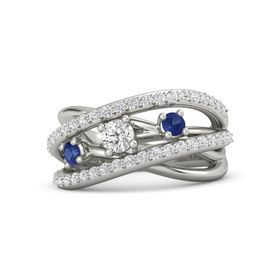 Round White Sapphire 18K White Gold Ring with Blue Sapphire and White Sapphire
