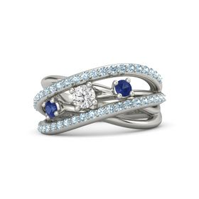 Round White Sapphire 18K White Gold Ring with Blue Sapphire and Aquamarine